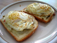 Eggs and provolone on toast