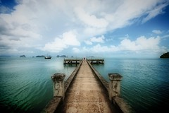 Infinity Pier (! .  Angela Lobefaro . !) Tags: trip travel blue trees sea vacation sky holiday seascape tree green water beautiful clouds port reflections landscape thailand island xt bay harbor pier boat scary asia nuvole mare nest wind echoes cove pano gorgeous rustic dream surreal bleu hut c