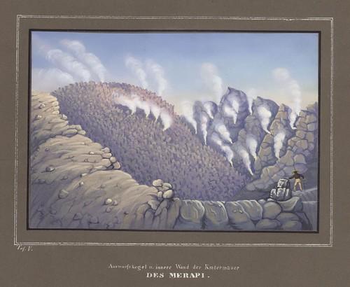 Auswurfskegel und innere Wand der Kratermauer des Merapi