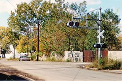 The Atchinson, Topeka & Santa Fe ex Illinois Northern RR crossing on West 30th Street near South Kedzie Avenue. Chicago Illinois. October 1988.