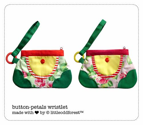 button-petals wristlet