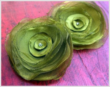 Green Organza Hair Clips