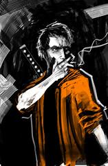 mala suerte (Jugo de Naranjo) Tags: digital comic sebastian katana ilustracion fumando naranjo