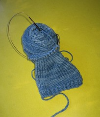 Can You Hear Me Now? (Velma's World) Tags: blue knitting workinprogress knit handknit wip handspun bfl earwarmers colorbomb 3ply colorbombcreations