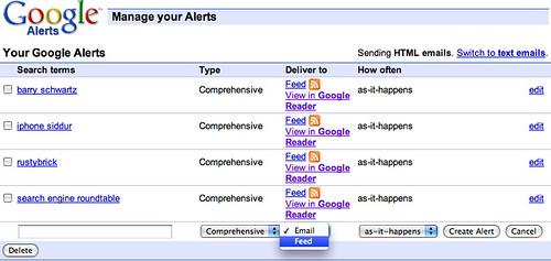 Google Alerts via RSS