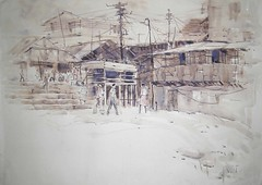 Monochrome_7 (my watercolors) Tags: old art window monochrome rural watercolor painting landscape village figure scape kolkata bengal calcutta benaras hillscape baranasi