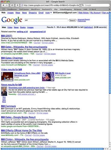 """Bill Cammack - Google results for """"Bill"""" on November 04, 2008"""