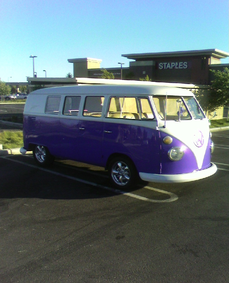 Purple split-window VW Bus
