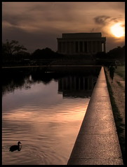 Running to the sunset (Mike G. K.) Tags: light sunset sky people usa sun reflection monument water pool clouds photoshop washingtondc us duck running lincolnmemorial ripples jogging dri hdr memmorial supershot 2exp photmatix mywinners anawesomeshot mikegk:gettyimages=invited