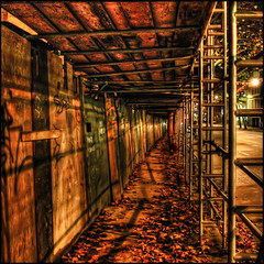 Under Construction (ecstaticist) Tags: street wood autumn light canada fall leaves night vancouver neglect photoshop leaf construction scaffolding nightshot decay lowereastside columbia line casio sidewalk convergence british ghetto slum topaz converge adjust decrepitude photomatix tonemapped tonemapping exf1