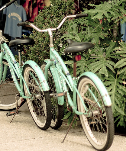 2 blue bikes