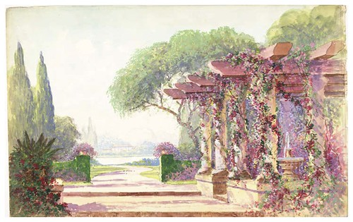 011-jardines-acuarela-Garden drop with a fountain under a classical arbor. The composition includes a pathway leading to a lake