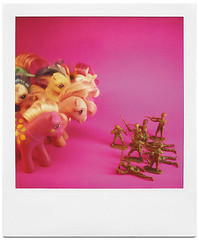 The Battle Between Boys and Girls (tubes.) Tags: pony army armymen mylittlepony toy toys pink battle battlefield gender play invasion territory retreat polaroid sx70 boys girls kids neon plastic war