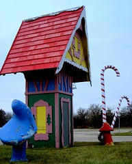 Santa's Village Entrance (chicagogeek) Tags: abandoned mushrooms illinois colorful entrance tint pointandshoot kanecounty themepark kiddie whimsical candycanes santasvillage foxvalley eastdundee