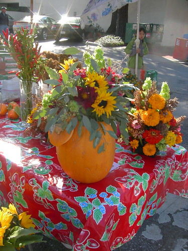 Pumpkin vase for fall flowers