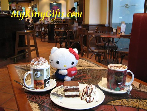 Hello Kitty enjoying Blue Mountain Coffee and Tiramisu at Jamaica Coffee Shop of Xi Hu Tian Di, HangZhou