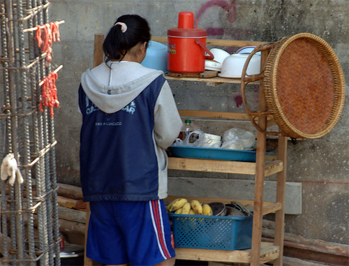 Making do with what's available - Surin building worker prepares breakfast, Chiang Mai