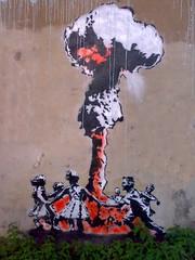 Mantis (HowAboutNo!) Tags: road old urban cloud london art fall mushroom mantis kent stencil war all down bomb anti