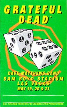 Grateful Dead laminate for Sam Boyd Stadium, University of Nevada, Las Vegas - 5/19, 5/20 & 5/21/95 (with the Dave Matthews Band) [from www.psilo.com]