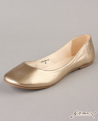 Go Max Oriana Gold Vegan Leather Ballet Flat