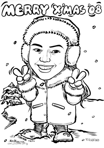 lady caricature in snowy Christmas
