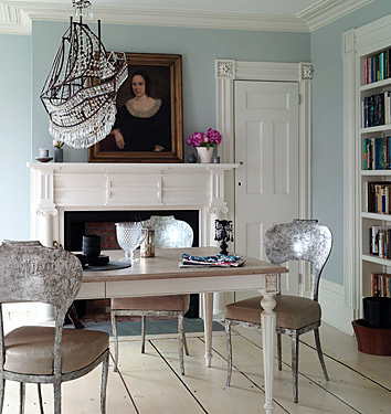Swedish-inspired dining room: Gustavian table + gilded chairs,house, interior, interior design