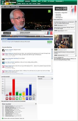 Tv2nyhetene - Interaktiv valgvake - Twitter og facebook