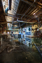 Abandoned Factory - Chemical Lake (Mr Gold) Tags: old city light usa reflection building art abandoned water graffiti interestingness interesting factory warehouse derelict hdr breathtaking discover