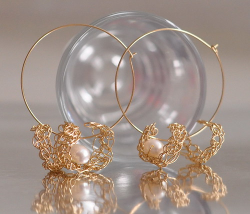 Earrings - 14 kt gold filled large hoops with crocheted lace and freshwater white pearls