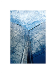 The gas house IV (2 Marvelous 4 Words) Tags: barcelona blue sky white building tower glass architecture clouds reflections vanishingpoint spain arquitectura headquarters gasnaturalfenosa