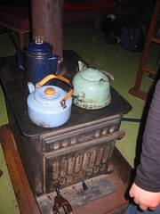 Wood stove with tea pots