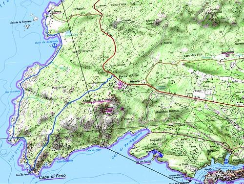 Carte du littoral de Ventilegne/La Tonnara à Bonifaciu en passant par le Capu di Fenu