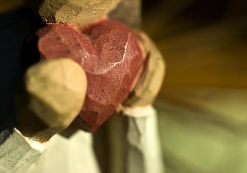 macro wooden heart