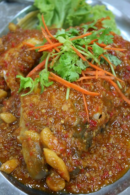 Red grouper head in sambal sauce