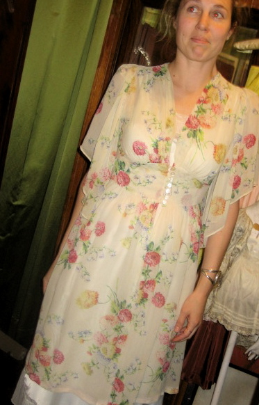 Early 40s Chiffon Print Overdress