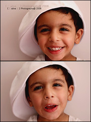 Mubarak being Silly! ({ :: alive :: }  ) Tags: boy portrait white silly cute home smile hat canon kid cool child laugh lil alive alain mubarak