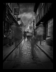 Sinister Shambles (SummerSound) Tags: shambles york longexposure neutraldensity nd nd8 exposure slow shutter filter cobbled street quaint blackandwhite shopping yorkshire spirits perspective summersound ghosts oldfashioned people shoppers sinister eerie creepy spooky strange visiongroup vision100 thegardenofzen beautifuldarkness anawesomeshot featuredonadidapcom exploretop100 topf50 explore explored