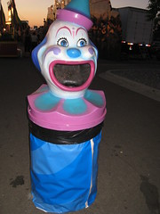 Scary clown garbage can