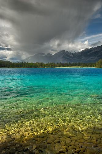 Rain over Lake Annette - Jasper N.P.