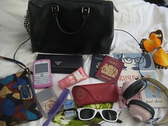 what's in my bag - jet setting (nicolettesara) Tags: travel sunglasses ipod blackberry wallet headphones marcjacobs whatsinmybag louisvuitton ghostworld raybans jetset