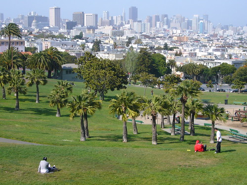 view of downtown from Dolores Park