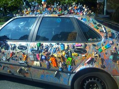 Decorated Saab car as sculpture (back-er)