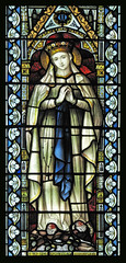 Our Lady of Lourdes (Lawrence OP) Tags: london window glass mary stained virgin stdominics lourdes ourlady