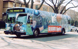 Pace Chicago Bears wrapped advertising bus. Chicago Illinois. April 2007.