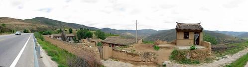 Climbing up pass east of Gantsaodian, Gansu Province, China