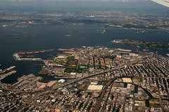 Red Hook and Upper New York Bay (jschumacher) Tags: nyc brooklyn aerialview gothamist statueofliberty redhook governorsisland