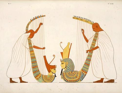 20- Dos musicos de Arpa que figuran en la tumba de Ramses IV