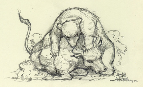 pencil illustration - bull and bear fighting