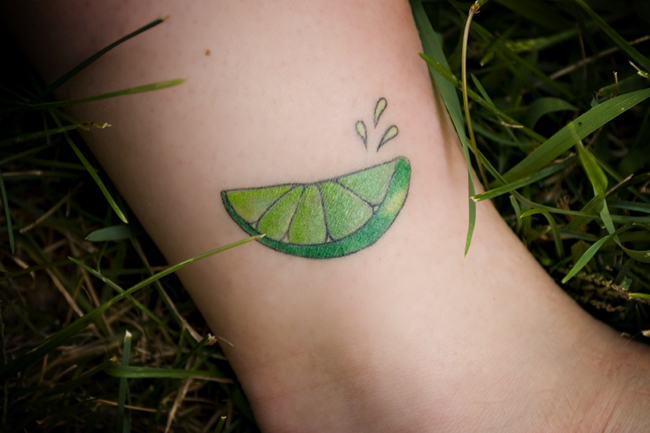 lime slice tattoo