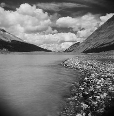 The Russian Camera Hits Canada (Ar'alani) Tags: travel lake canada film nature mediumformat landscape holga jasper glacier infrared vignette athabasca columbiaicefield efke ir820